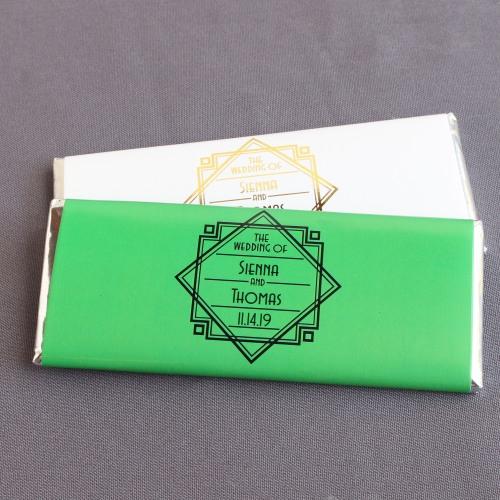 Personalized Modern Deco Wedding Hershey Chocolate Bars