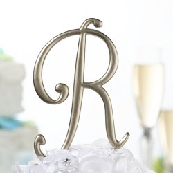 Gold Script Monogram Cake Topper
