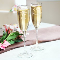 Personalized Double Hearts Toasting Flutes