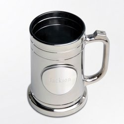 Engraved Gunmetal Beer Mug with Pewter Medallion