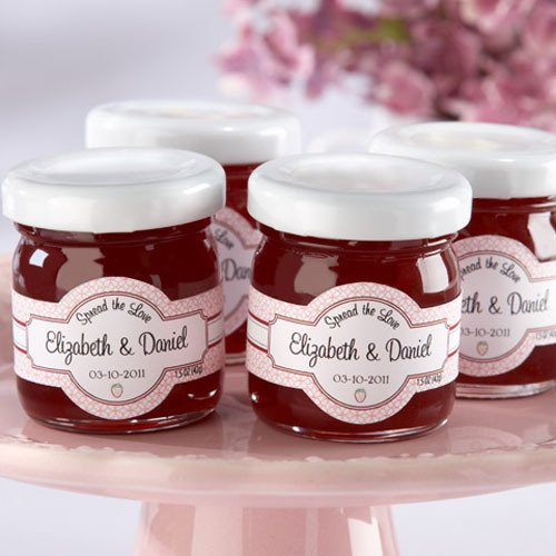 personalized mini strawberry jam favors