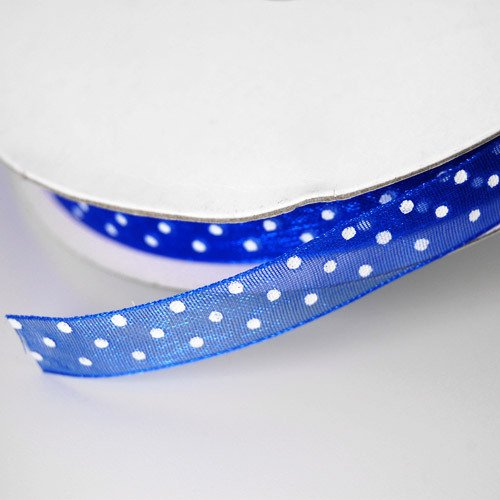 Royal Blue Sheer Organza Polka Dot Ribbon