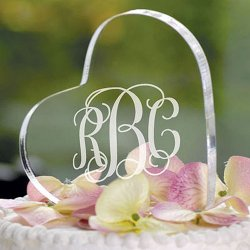 Personalized Acrylic Heart Shaped Cake Topper