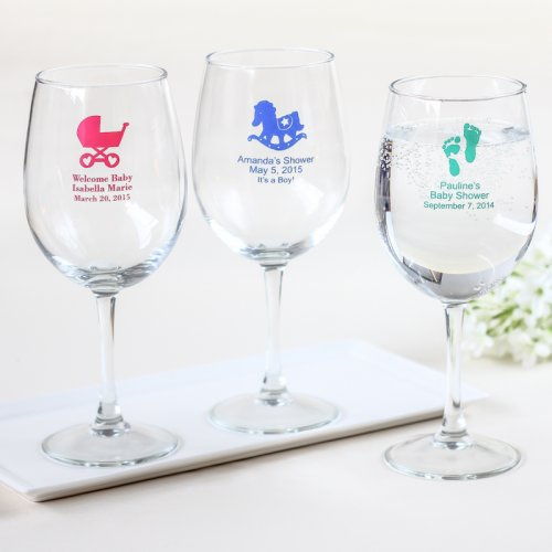 Personalized Baby Shower Wine Glasses
