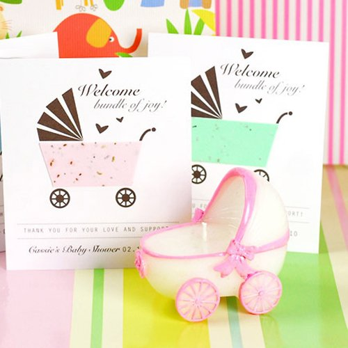 Personalized Designer Baby Carriage Seed Card Favor
