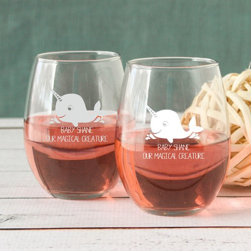 Personalized Narwhal Stemless Wine Glass