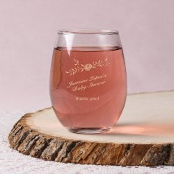 Personalized 9 oz. Baby Shower Stemless Wine Glass