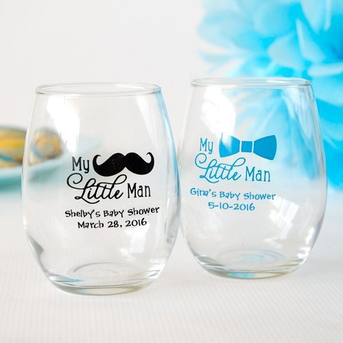 Personalized Little Man 9 oz Stemless Wine Glasses