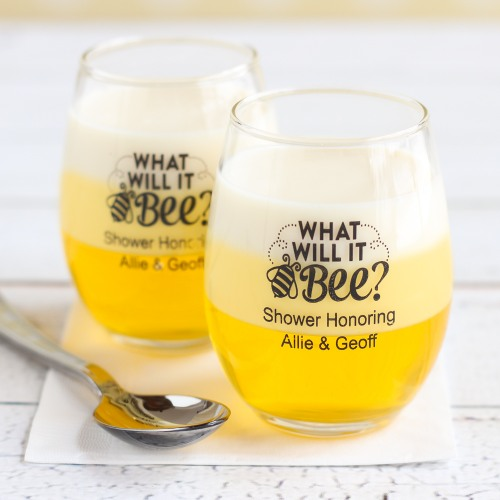 Personalized Bee Reveal Stemless Wine Glass