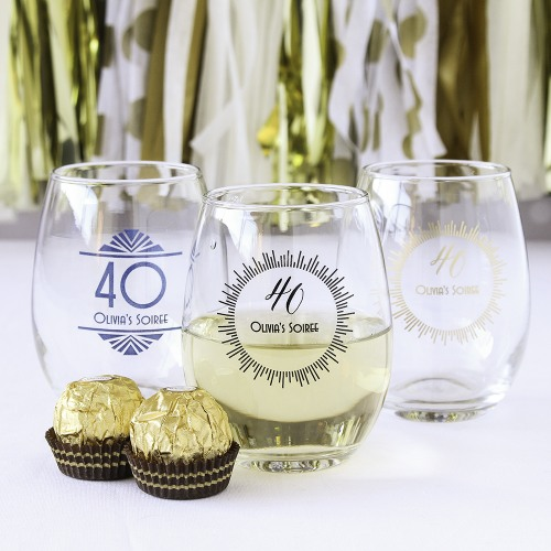 Personalized 9 oz Milestone Stemless Wine Glasses