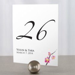 Personalized Cherry Blossoms Table Number Cards