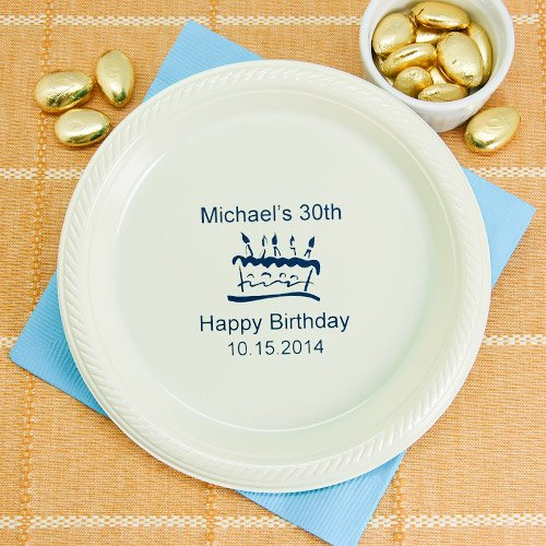 Personalized Round Adult Birthday Plastic Plates
