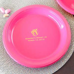 Personalized Round Birthday Plastic Plates