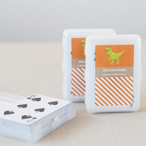 Dinosaur Birthday Playing Cards with Personalized Labels