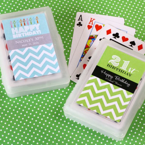 Birthday Playing Cards with Personalized Labels