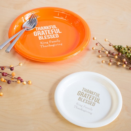 Personalized Thanksgiving Round Plastic Party Plates