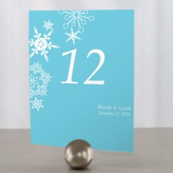 Personalized Snowflakes Table Number Cards