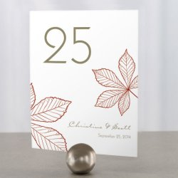 Personalized Autumn Leaves Table Number Cards