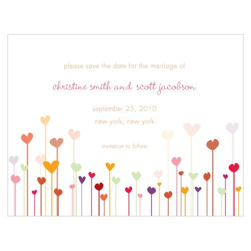 Personalized Garden Hearts Save the Date Cards