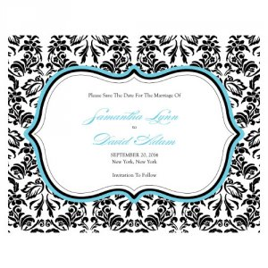 Personalized Damask Save the Dates