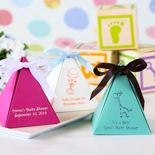 Personalized Pyramid Baby Shower Favor Box