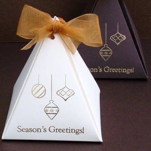 Personalized Pyramid Holiday Party Favor Boxes