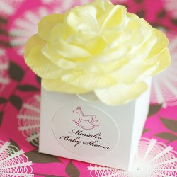 Personalized Flower Topped Baby Shower Favor Box