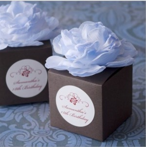 Personalized Flower Topped Birthday Favor Box
