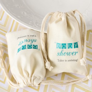 Personalized Natural Cotton Baby Shower Favor Bag