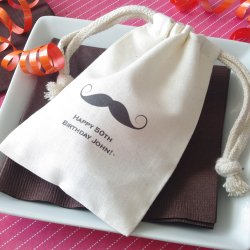 Personalized Natural Cotton Birthday Favor Bag