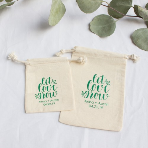 Personalized Let Love Grow Cotton Favor Bag
