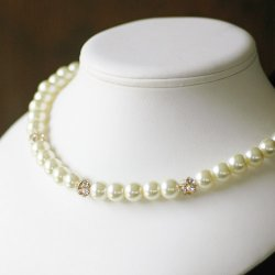 Rhinestone and Pearl Necklace