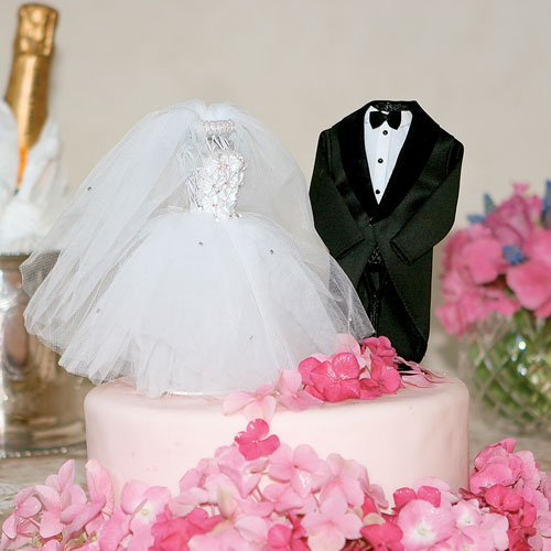 Bride and Groom Dress Form Cake Toppers