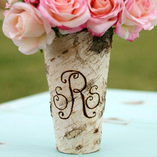 Monogrammed Engraved Birch Wood Vase