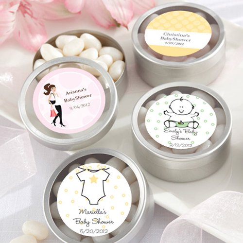Personalized Baby Shower Round Clear Topped Candy Tins