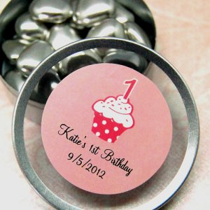 Personalized Birthday Round Clear Topped Candy Tins
