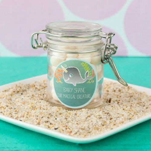Personalized Narwhal Glass Favor Jar