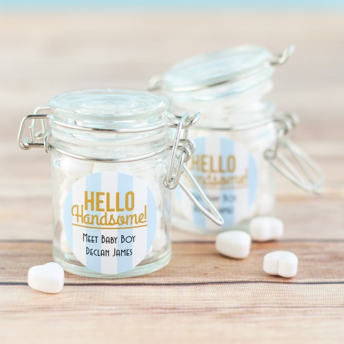 Personalized Hello Handsome Favor Jars
