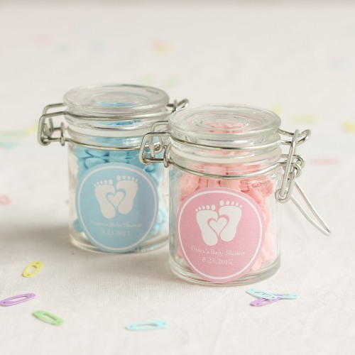 Personalized Baby Feet Glass Favor Jars