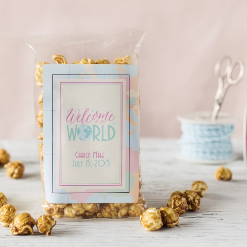 Personalized Welcome to the World Caramel Corn