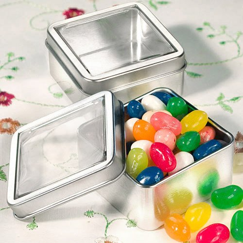 Square Clear Top Tin