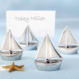 Silver Sailboat Place Card Holders