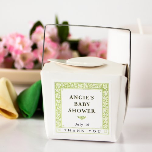 Mini White Chinese Takeout Box with Personalized Square Label