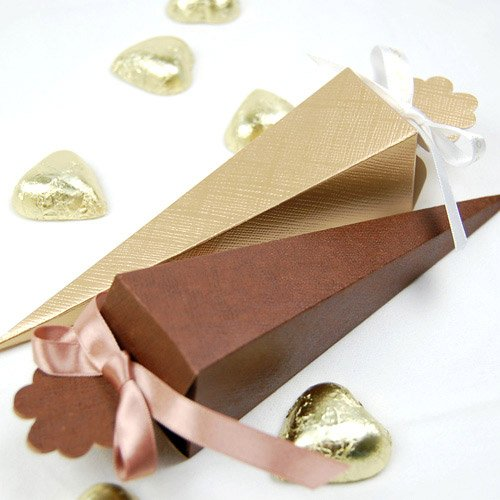 Gold and Chocolate Favor Cones