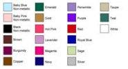 Personalized Favor Ribbon Print Color Chart