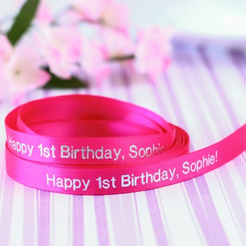 Personalized First Birthday Satin Ribbon