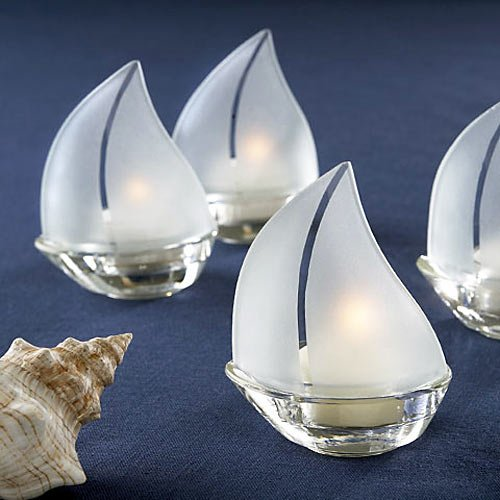 Glass Sailboat Tea Light Holders