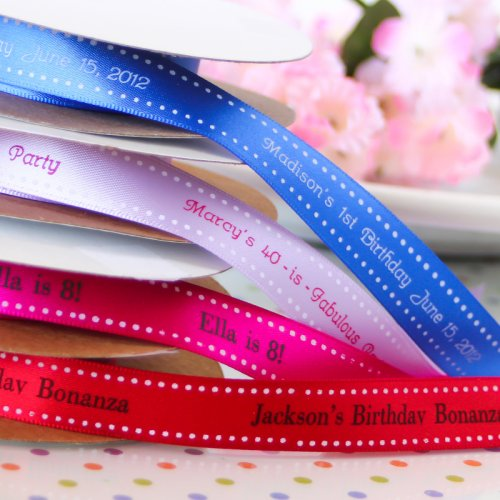 Personalized Satin Dots Birthday Ribbons