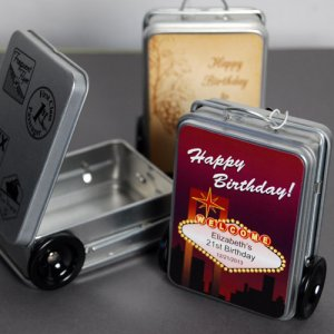 Mini Suitcase Favor Tins