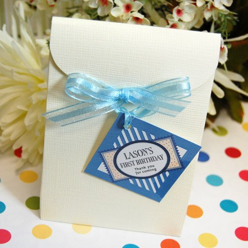 Ivory Linen Birthday Favor Bag